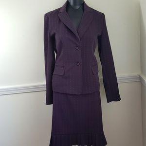 T Milano plum pinstriped 2 piece skirt set